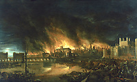 """London:   """"Fire of London"""", 1666 by Dutch School.  Early Stuart--Museum of London.  Reference only."""