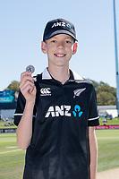 23rd March 2021; Christchurch, New Zealand;  Reuben McKeown(coin toss kid) during the 2nd ODI cricket match, Black Caps versus Bangladesh, Hagley Oval, Christchurch, New Zealand.