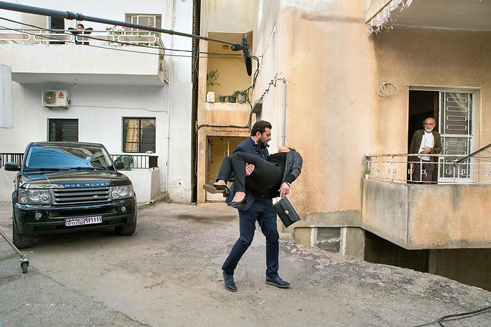 """Shooting of the Syrian series """"Muzakarat Aseka Sabeka"""" (""""Memories of a former lover"""") Lebanon Mars 2017 (Mars Media Production). The scene takes place in Damascus, with Syrian actors, but is actually shot in Lebanon. The scenario is based on a plausible story, in the context of the war in Syria. Abed Saraf, played by the famous actor Basem Yakhour, is an ex lawyer converted into a intermediary between the Syrian government and the rebels to negotiate ransom for the hostages.<br /> <br /> Tournage de la série Syrienne """"Muzakarat Aseka Sabeka"""" (""""Mémoires d'une amante révolue""""), Liban, Mars 2017 (Mars Media Production). La scène se déroule dans une rue de Damas, avec des acteurs Syriens, mais le tournage est réalisé au Liban pour une grande partie de la série. Le scénario est basé sur un histoire plausible, dans le contexte de la guerre en Syrie: Abed Saraf, joué par le célèbre acteur syrien Basem Yakhour est ici un ex-avocat reconvertit en intermédiaire entre le gouvernement et les groupes rebelles, pour négocier les rançons des prisonniers de guerre."""