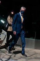 NEW YORK, NEW YORK- APRIL 7: New York City Mayor Bill de Blasio exits Lincoln Center after delivering remarks at the first performance of 'Restart Stages' held at Lincoln Center on April 7, 2021 in New York City. Photo Credit: mpi43/MediaPunch