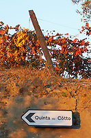 road sign vineyard quinta do cotto douro portugal