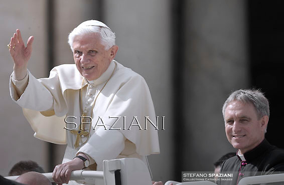 Pope Benedict XVI Monsignor Georg Gänswein private secretaryduring his weekly general audience in St. Peter square at the Vatican, Wednesday. 3 October, 2012