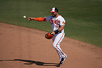Baltimore Orioles second baseman Yolmer Sanchez (13) throws to first base during a Major League Spring Training game against the Philadelphia Phillies on March 12, 2021 at the Ed Smith Stadium in Sarasota, Florida.  (Mike Janes/Four Seam Images)