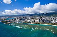 Aerial of Ala Moana beach park, Oahu