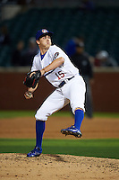 Chattanooga Lookouts pitcher Nick Burdi (15) delivers a pitch during a game game against the Jacksonville Suns on April 30, 2015 at AT&T Field in Chattanooga, Tennessee.  Jacksonville defeated Chattanooga 6-4.  (Mike Janes/Four Seam Images)
