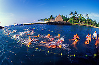 Swimmers at the finish line in the annual Ironman Triatholon at Kailua Kona the Big Island of Hawaii. Ahuena heiau in background.