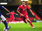 David Edwards closes down the Azerbaijian defence. Wales v Azerbaijan.Group 4, 2010 World Cup Qualifier. © Ian Cook IJC Photography iancook@ijcphotography.co.uk www.ijcphotography.co.uk