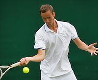 02-07-13, England, London,  AELTC, Wimbledon, Tennis, Wimbledon 2013, Day eight, Danill Medvedev (RUS)<br /> <br /> <br /> <br /> Photo: Henk Koster