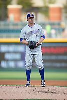 Durham Bulls starting pitcher Brandin Hagens (12) looks to his catcher for the sign against the Charlotte Knights at BB&T BallPark on July 22, 2015 in Charlotte, North Carolina.  The Knights defeated the Bulls 6-4.  (Brian Westerholt/Four Seam Images)