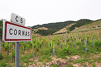road sign vineyard cornas rhone france
