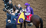 DEL MAR, CA - NOVEMBER 03: Ryan Moore, aboard Mendelssohn #1, greets people winning the Breeders' Cup Juvenile Turf on Day 1 of the 2017 Breeders' Cup World Championships at Del Mar Thoroughbred Club on November 3, 2017 in Del Mar, California. (Photo by Ting Shen/Eclipse Sportswire/Breeders Cup)