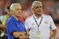 USWNT head coach Tom Sermanni with Mexico head coach Leonardo Cuellar at pre-game warm ups. The USWNT defeated Mexico 7-0 during an international friendly, at RFK Stadium, Tuesday September 3, 2013.