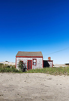 Rustic and isolated solated dune shack, Corn Hill, Truro, Cape Cod, Massachusetts, USA