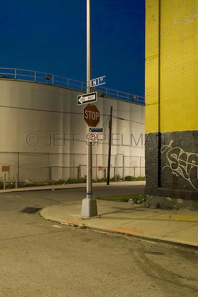 Street Scene at Dusk in an Industrial Neighborhood of Williamsburg, Brooklyn<br /> <br /> New York City, New York State, USA