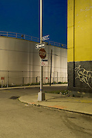 Street Scene at Dusk in an Industrial Neighborhood of Williamsburg, Brooklyn<br />