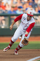 North Carolina State third baseman Grant Clyde (22) on defense during Game 10 of the 2013 Men's College World Series against the North Carolina Tar Heels on June 20, 2013 at TD Ameritrade Park in Omaha, Nebraska. The Tar Heels defeated the Wolfpack 7-0, eliminating North Carolina State from the tournament. (Andrew Woolley/Four Seam Images)