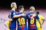 Lionel Andres Messi of FC Barcelona (C) celebrating his goal with his teammates during the La Liga 2017-18 match between FC Barcelona and Las Palmas at Camp Nou on 01 October 2017 in Barcelona, Spain. (Photo by Vicens Gimenez / Power Sport Images
