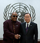 The Secretary-General meeting with Mr. Steve Wonder t United Nation Head quater in New York for Messenger of Peace, Jan 16 2013
