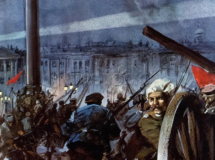 Russia. October Revolution, 1917. Assault on the Winter Palace. Saint Petersburg. Color Illustration.