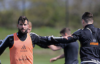 (L-R) Jordi Amat and Federico Fernandez during the Swansea City FC training at Fairwood, Swansea, Wales, UK on Wednesday 04 May 2016