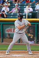 Shane Peterson (32) of the Sacramento River Cats at bat against the Salt Lake Bees at Smith's Ballpark on June 6, 2014 in Salt Lake City, Utah.  (Stephen Smith/Four Seam Images)