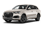 Stock pictures of low aggressive front three quarter view of 2020 Audi Q7 Advanced 5 Door SUV Low Aggressive