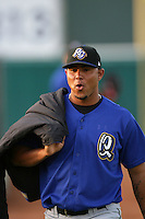 April 17, 2010: Jose Perez of the Rancho Cucamonga Quakes before game against the Lancaster JetHawks at Clear Channel Stadium in Lancaster,CA.  Photo by Larry Goren/Four Seam Images