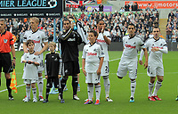 Pictured: (L-R) Garry Monk, Michel Vorm, Ashley Williams, Neil Taylor and Leon Britton of Swansea City. Saturday 17 September 2011<br /> Re: Premiership football Swansea City FC v West Bromwich Albion at the Liberty Stadium, south Wales.