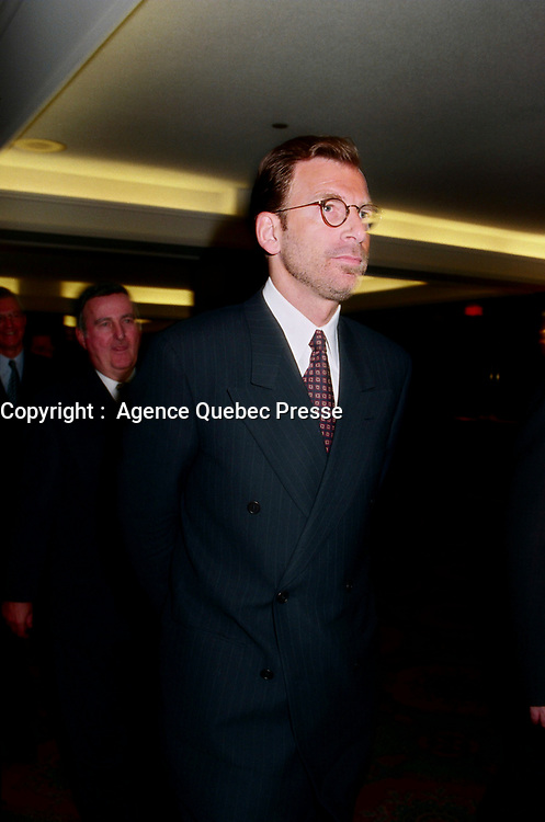 Montreal, March , 1999 File Photo<br /> Seagrams CEO Edgar Bronfman Jr. giving a speech about the changes in Seagram's (from a liquor toward entertainment company) to the Canadian Club in Montreal (Quebec, Canada) on March 8 1999<br /> <br /> PHOTO :  Agence Quebec Presse