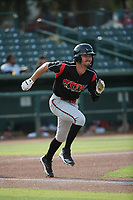 Jarryd Dale (2) of the Lake Elsinore Storm runs to first base during a game against the Inland Empire 66ers at San Manuel Stadium on July 25, 2021 in San Bernardino, California. (Larry Goren/Four Seam Images)