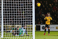 Josh Sheehan of Newport County watches on as his shot narrowly misses the far post during the Sky Bet League Two match between Newport County and Crawley Town at Rodney Parade, Newport, Wales, UK. 19 January 2018