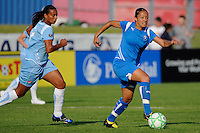 Angela Hucles (16) of the Boston Breakers is chased by Rosana (11)  of Sky Blue FC. Sky Blue FC defeated the Boston Breakers 2-1 during a Women's Professional Soccer match at Yurcak Field in Piscataway, NJ, on May 31, 2009.