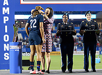 FRISCO, TX - MARCH 11: Jessica McDonald #22 of the United States receives her medal during a game between Japan and USWNT at Toyota Stadium on March 11, 2020 in Frisco, Texas.