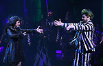 """Sophia Anne Caruso and Alex Brightman during the Broadway Opening Night Performance Curtain Call for """"Beetlejuice"""" at The Winter Garden on April 25, 2019 in New York City."""