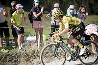 yellow jersey / GC leader Primoz Roglic (SVK/Jumbo-Visma) at the gravel section atop the Montée du plateau des Glières (HC/1390m)<br /> <br /> Stage 18 from Méribel to La Roche-sur-Foron (175km)<br /> <br /> 107th Tour de France 2020 (2.UWT)<br /> (the 'postponed edition' held in september)<br /> <br /> ©kramon