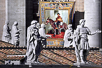 "A tapestry hanged on the facade of St Peter's basilica shows a portrait of Jose Gabriel Brochero il Pope Francis canonises Argentine ""gaucho priest"" Jose Gabriel Brocheroledduring a canonization mass   on at St Peter's square in Vatican. October 16, 2016"