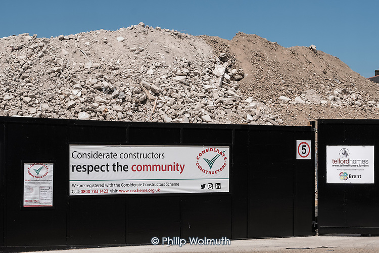 A pile of rubble that was the now demolished Gloucester House, South Kilburn Estate, London Borough of Brent.
