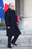 PARIS , PALAIS DE L'ELYSEE LE 18 / 01 / 2017<br /> SORTIE DU CONSEIL DES MINISTRES<br /> BERNARD CAZENEUVE , PREMIER MINISTRE