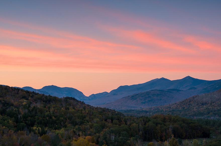 Sunset beautiful over Franconia Notch.