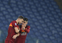 Football, Serie A: AS Roma - Cagliari calcio, Olympic stadium, Rome, December 23, 2020. <br /> Roma's captain Edin Dzeko (l) celebrates after scoring with his teammate Gianluca Mancini (r) during the Italian Serie A football match between Roma and Cagliari at Rome's Olympic stadium, on December 23, 2020.  <br /> UPDATE IMAGES PRESS/Isabella Bonotto
