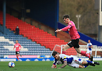 16th April 2021; Ewood Park, Blackburn, Lancashire, England; English Football League Championship Football, Blackburn Rovers versus Derby County; Adam Armstrong of Blackburn Rovers is brought down by Max Bird of Derby County