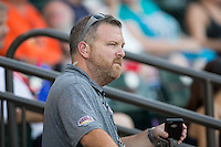 Winston-Salem Dash Vice-President of Baseball Operations Ryan Manuel during the Carolina League game against the Salem Red Sox at BB&T Ballpark on June 16, 2016 in Winston-Salem, North Carolina.  The Dash defeated the Red Sox 7-1.  (Brian Westerholt/Four Seam Images)