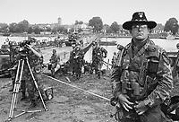 - NATO exercises in the Netherlands, 1th Cavalry US Army officer near a  pontoon bridge over the river Meuse (October 1983)....- esercitazioni NATO in Olanda, ufficiale americano del 1° Cavalleria presso un ponte di barche sul fiume Mosa (ottobre 1983)....