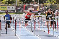"""MEDELLÍN -COLOMBIA-25-05-2013. El atleta peruano Jorge Mc Farlane (178) quien ganó una de las prubas de 110 metros vallas durante el Grand Prix Internacional """"Ximena Restrepo"""" realizado en Medellín. A su izquierda Jeison Rivas (I) de Antioquia y Paulo Vilar (D) de Bogotá. / AthleteJorge Mc Farlane (178) from Peru in action. He won one the110m hurdles during the  Grand Prix Internacional """"Ximena Restrepo"""" in Medellin.  At his left Jeison Rivas from Antioquia and to the right Paulo Vilasr from Bogota. Photo: VizzorImage/STR."""