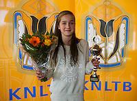 Rotterdam, The Netherlands, 07.03.2014. NOJK ,National Indoor Juniors Championships of 2014, 12and 16 years, Runner up girls 12 years Julie Belgraver (NED) <br /> Photo:Tennisimages/Henk Koster
