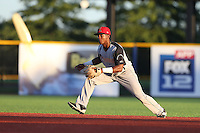 Richard Amion (1) of the Salem-Keizer Volcanoes in the field at second base during a game against the Hillsboro Hops at Ron Tonkin Field on July 27, 2015 in Hillsboro, Oregon. Hillsboro defeated Salem-Keizer, 9-2. (Larry Goren/Four Seam Images)