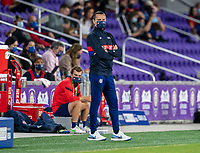 ORLANDO, FL - FEBRUARY 24: Vlatko Andonovski of the USWNT watches his team during a game between Argentina and USWNT at Exploria Stadium on February 24, 2021 in Orlando, Florida.