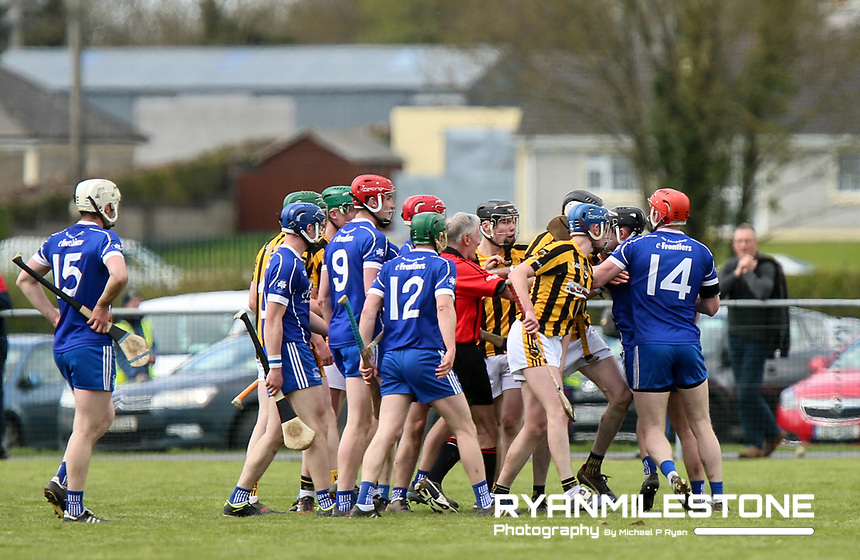 A melee breaks out during the Centenary Agri Mid Senior Hurling Championship Quarter Final between Thurles Sarsfields and Upperchurch/Drombane on Saturday 28th April 2018 at Templetuohy, Co Tipperary, Photo By Michael P Ryan