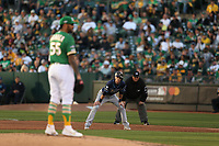 OAKLAND, CA - OCTOBER 02:  Matt Duffy #5 of the Tampa Bay Rays takes a lead off first base against the Oakland Athletics during the American League Wild Card Game at RingCentral Coliseum on Wednesday, October 2, 2019 in Oakland, California. (Photo by Brad Mangin)