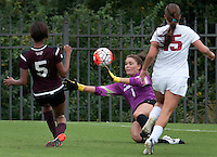 NWA Democrat-Gazette/BEN GOFF @NWABENGOFF<br /> Cameron Carter, Arkansas keeper, dives for the ball after a  shot by Kennadi Carbin (5) of Mississippi State on Sunday Sept. 20, 2015 during the second half of the match at Razorback Field in Fayetteville. The shot was wide.
